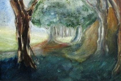 (CreativeWork) The Middle of Nowhere by Andrew Mark Gould. oil-painting. Shop online at Bluethumb.