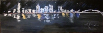 (CreativeWork) Brisbane City Skyline by Sharon Kennedy. oil-painting. Shop online at Bluethumb.