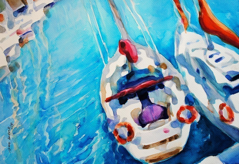 (CreativeWork) Yacht at marina abstract by Soo Beng Lim. watercolour. Shop online at Bluethumb.