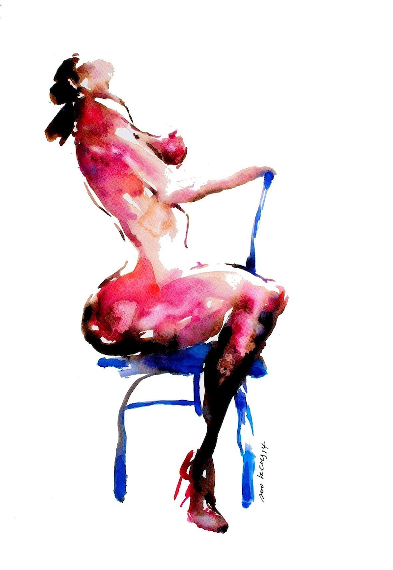 (CreativeWork) Nude X_10 by Soo Beng Lim. watercolour. Shop online at Bluethumb.