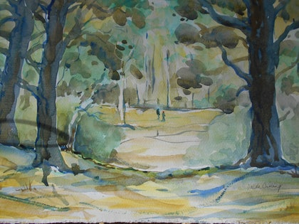 (CreativeWork) Cheltenham Park by Valda Cuming. watercolour. Shop online at Bluethumb.