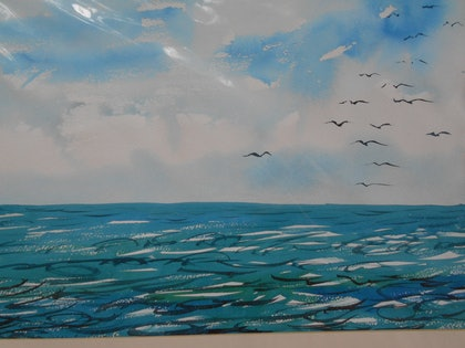 (CreativeWork) Sea Study from Brighton by Valda Cuming. watercolour. Shop online at Bluethumb.
