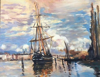 (CreativeWork) Boat early settler by Cissy Z. oil-painting. Shop online at Bluethumb.