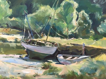 (CreativeWork) Boats Moor by Cissy Z. oil-painting. Shop online at Bluethumb.