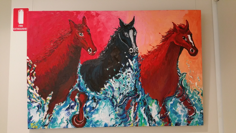(CreativeWork) Seahorses by Tea Ercoles. oil-painting. Shop online at Bluethumb.