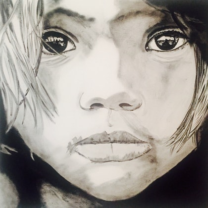 (CreativeWork) Indigenous Child by Danielle Bachinger. mixed-media. Shop online at Bluethumb.