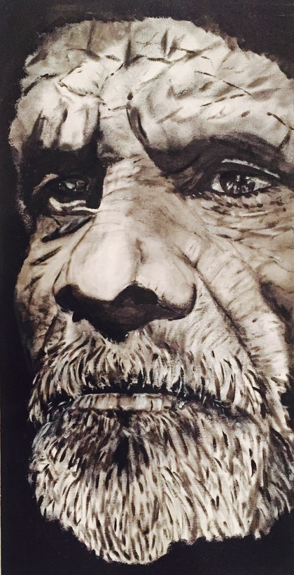 (CreativeWork) Wise Elder by Danielle Bachinger. mixed-media. Shop online at Bluethumb.