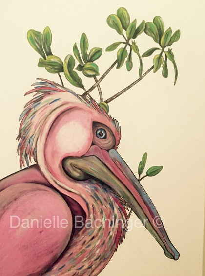 (CreativeWork) Pelican Dreams by Danielle Bachinger. arcylic-painting. Shop online at Bluethumb.