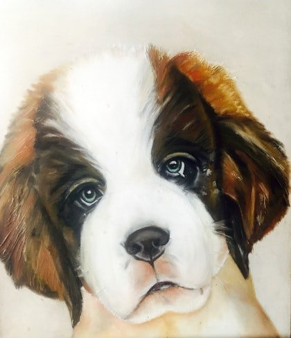 (CreativeWork) St Bernard by Danielle Bachinger. oil-painting. Shop online at Bluethumb.