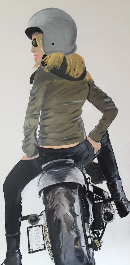 (CreativeWork) Cafe Racer by Danielle Bachinger. arcylic-painting. Shop online at Bluethumb.