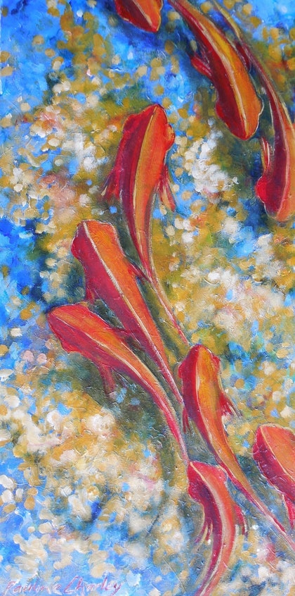 (CreativeWork) Red Mullet by Pauline Charley. arcylic-painting. Shop online at Bluethumb.