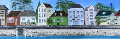 (CreativeWork) Houses by the Bay by Tina Farrow. arcylic-painting. Shop online at Bluethumb.