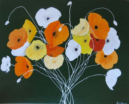 (CreativeWork) Poppies on Purpose by Tina Farrow. arcylic-painting. Shop online at Bluethumb.