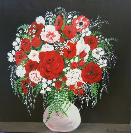 (CreativeWork) Bowl of Beauty by Tina Farrow. arcylic-painting. Shop online at Bluethumb.