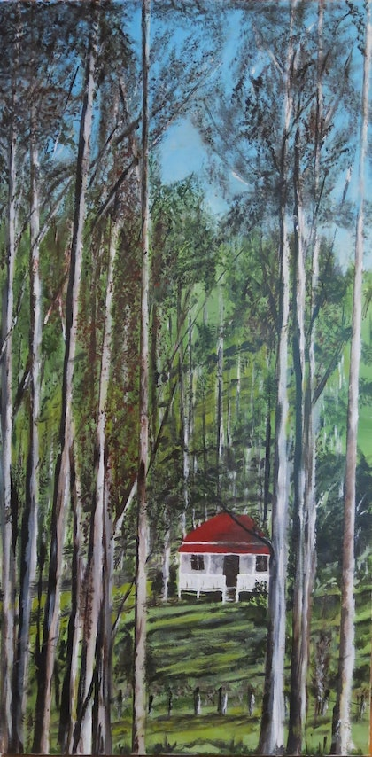 (CreativeWork) Among the Gumtrees by Tina Farrow. arcylic-painting. Shop online at Bluethumb.