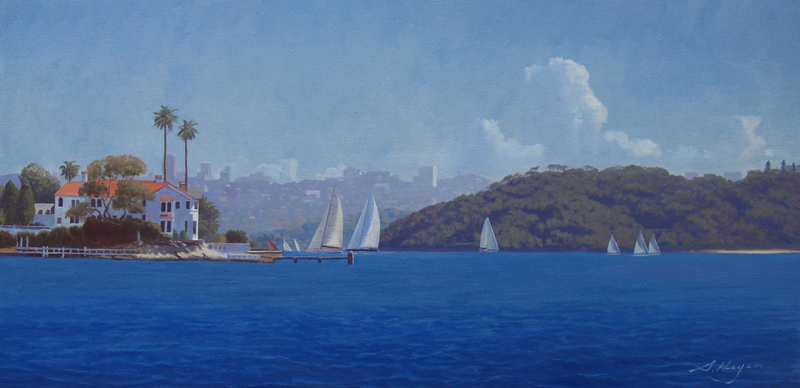 (CreativeWork) Harbour life - A scene featuring the tip of Point Piper' with Bradley's Head in the background. by Steven Heyen. oil-painting. Shop online at Bluethumb.