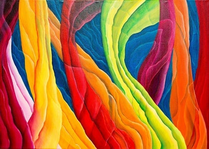 (CreativeWork) Rainbow Chard by Barbara Vonk. oil-painting. Shop online at Bluethumb.
