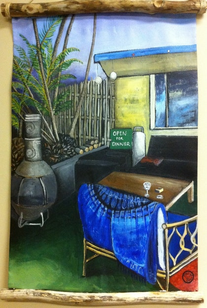 (CreativeWork) Rustic Cafe by Lesley Sweetman. arcylic-painting. Shop online at Bluethumb.