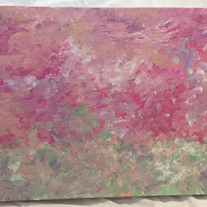 (CreativeWork) Pink and Quiet by Laura P-G. arcylic-painting. Shop online at Bluethumb.
