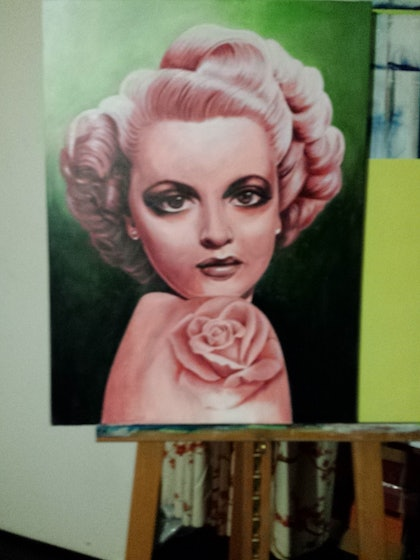 (CreativeWork) Woman with rose tattoo1 by Jenny Roach. arcylic-painting. Shop online at Bluethumb.
