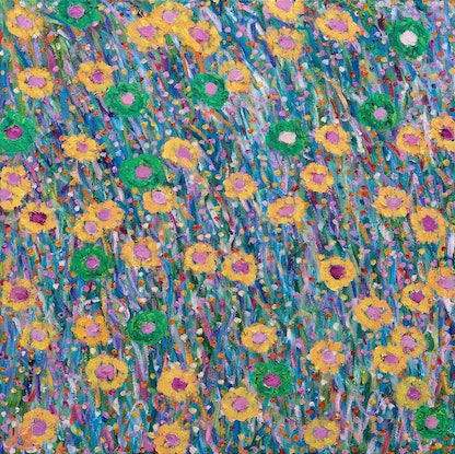(CreativeWork) Garden of Our Land by Helen Joynson. Oil Paint. Shop online at Bluethumb.