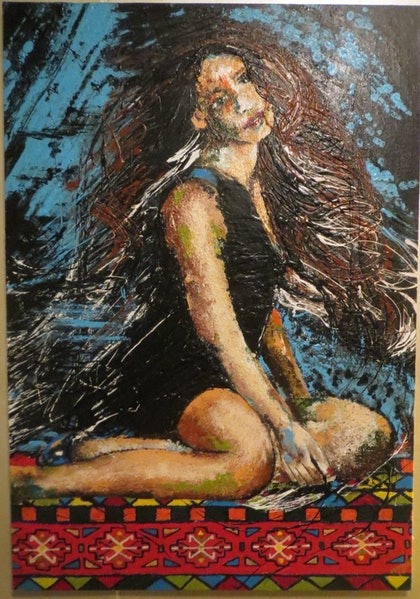 (CreativeWork) Silent girl by Farzane Ghaderi. arcylic-painting. Shop online at Bluethumb.