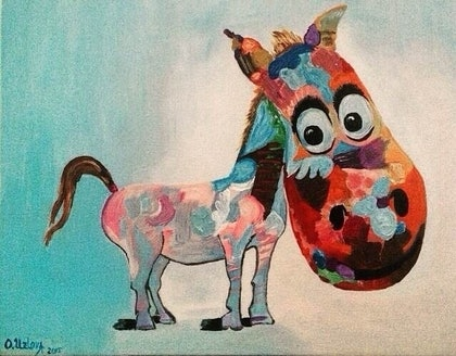(CreativeWork) Rainbow Horse. by Oxana Uzlova. arcylic-painting. Shop online at Bluethumb.
