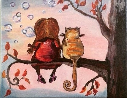 (CreativeWork) Best Friends from Childhood. by Oxana Uzlova. arcylic-painting. Shop online at Bluethumb.