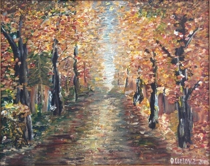(CreativeWork) Golden Autumn by Oxana Uzlova. arcylic-painting. Shop online at Bluethumb.