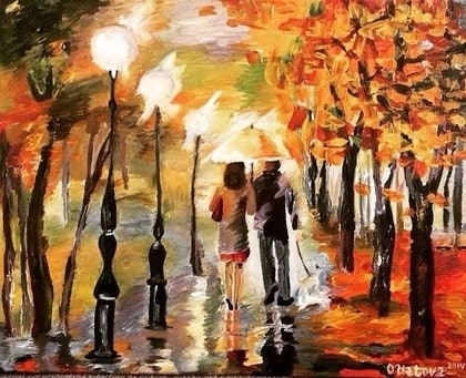 (CreativeWork) Walk in the Autumnal Rain. by Oxana Uzlova. arcylic-painting. Shop online at Bluethumb.