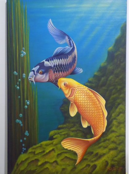 (CreativeWork) Coy 2014 by Pete Westerhoff. oil-painting. Shop online at Bluethumb.