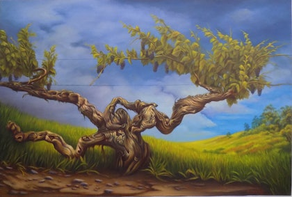 (CreativeWork) The old vine by Pete Westerhoff. oil-painting. Shop online at Bluethumb.