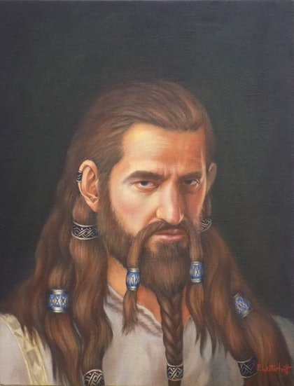 (CreativeWork) Thorin ( after the Hobbits by Pete Westerhoff. oil-painting. Shop online at Bluethumb.