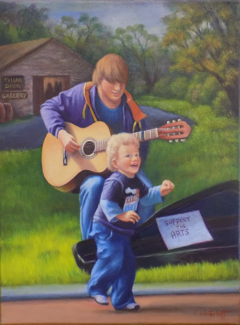 (CreativeWork) The busker by Pete Westerhoff. oil-painting. Shop online at Bluethumb.