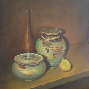 (CreativeWork) Pottery & Pear by Pete Westerhoff. oil-painting. Shop online at Bluethumb.