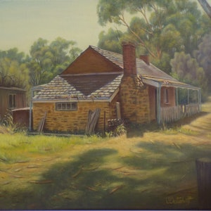 (CreativeWork) Spargo's cottage willunga S.A. by Pete Westerhoff. oil-painting. Shop online at Bluethumb.