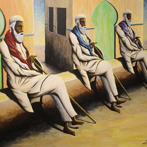 (CreativeWork) Three Old Men by Keroshin Govender. arcylic-painting. Shop online at Bluethumb.