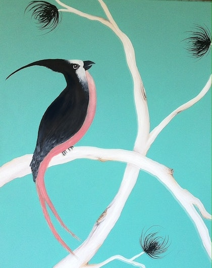 (CreativeWork) Birds of a Feather by Wendy Davenport. arcylic-painting. Shop online at Bluethumb.