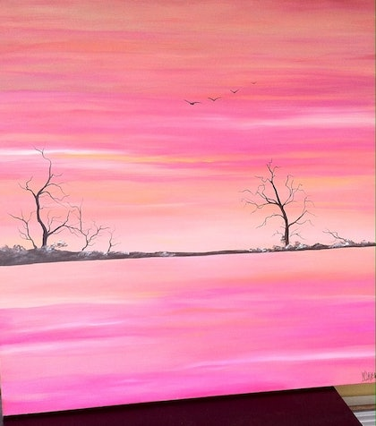(CreativeWork) Outback sunset by Wendy Davenport. arcylic-painting. Shop online at Bluethumb.