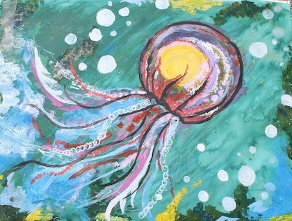 (CreativeWork) JELLYFISH by Lilly Hoiland. mixed-media. Shop online at Bluethumb.