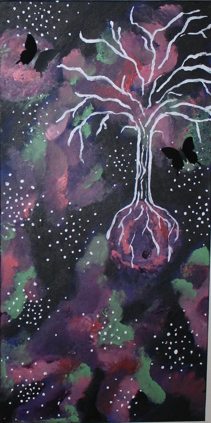 (CreativeWork) GALAXY TREE by Lilly Hoiland. arcylic-painting. Shop online at Bluethumb.