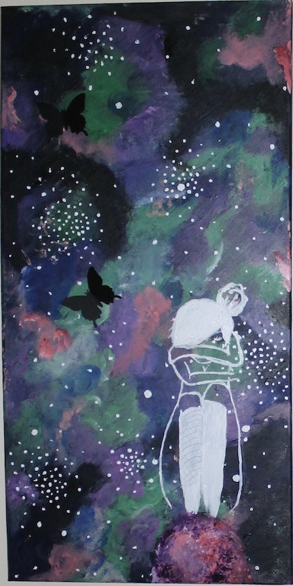 (CreativeWork) GALAXY GIRL by Lilly Hoiland. arcylic-painting. Shop online at Bluethumb.