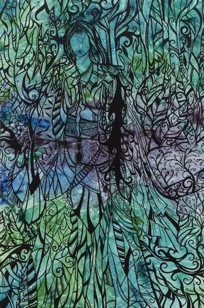 (CreativeWork) Green Lady by Jennis Ardern. mixed-media. Shop online at Bluethumb.