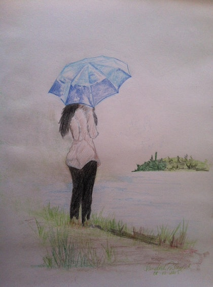 (CreativeWork) Being with nature by Sandesh Palackal. drawing. Shop online at Bluethumb.