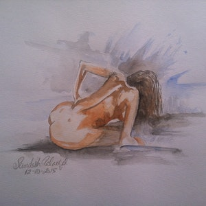 (CreativeWork) The Nude by Sandesh Palackal. watercolour. Shop online at Bluethumb.
