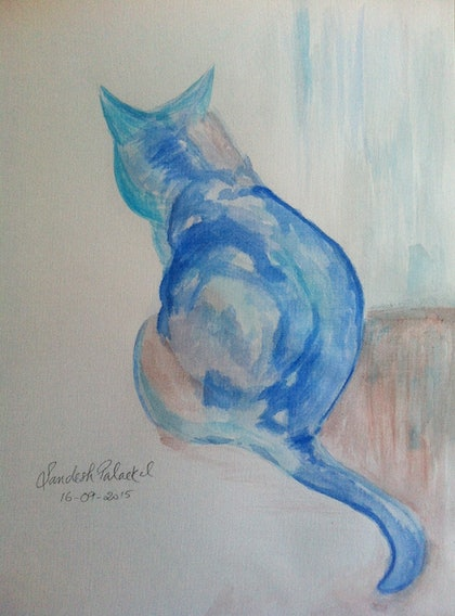 (CreativeWork) The Cat by Sandesh Palackal. arcylic-painting. Shop online at Bluethumb.