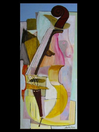 (CreativeWork) Variation on Double Bass by Martin Kidd. mixed-media. Shop online at Bluethumb.