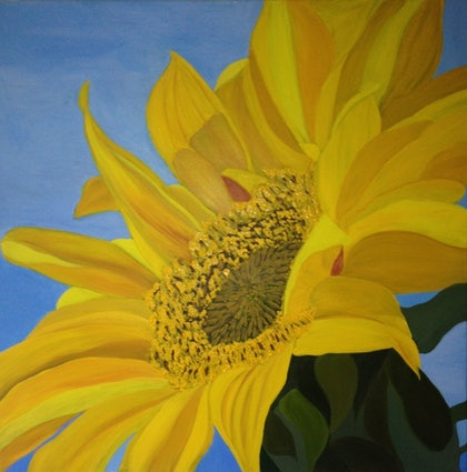 (CreativeWork) Sunflower ~ up-close by Dinesha Costa. arcylic-painting. Shop online at Bluethumb.