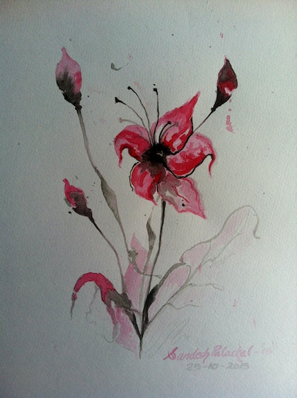 (CreativeWork) The Flower by Sandesh Palackal. watercolour. Shop online at Bluethumb.