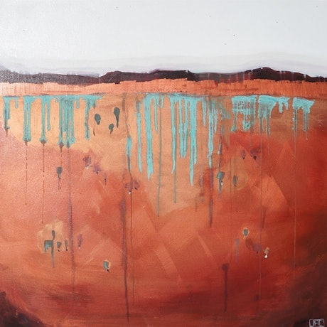 (CreativeWork) Day of Rain (Copper) by Jac Clark. Acrylic Paint. Shop online at Bluethumb.